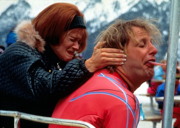 Harry-tongue-stuck-to-ski-bench